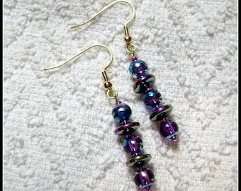 Purple Ball Earrings - Disco Dangle Earrings - Earrings - Jewelry - Bright Colors - E-180