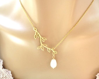 Set of 1-4, Branch, Pearl, Gold, Silver, Necklace, Sets, Branch, Tree, Set, Jewelry, Wedding, Bridesmaid, Bridal, Gift, Accessory, Jewelry