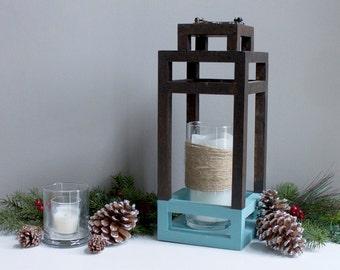 Large Wood and Vintage Chalk Blue, Lantern and Decorative Candle Holder