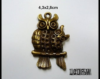 * ¤ 1 OWL pendant and its little metal Bronze - 4, 3 x 2, 8cm ¤ * #PC56