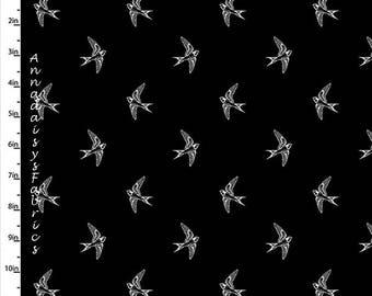 Noir & blanc oiseau tissu, oiseau couette tissu, quilteuses Palette Marbella Collection 12633 noir, coton