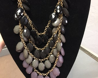 Black,Grey and Purple Beaded Necklace