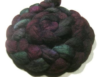 BFL wool roving hand dyed - hand painted spinning and felting fiber - 4.6 oz Purple Dahlia - wool combed top - green purple plum wool fiber