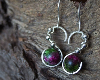 Ruby in Zoisite earrings with Sterling silver