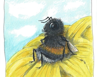 Framed original drawing ' Bumblebeehappy '