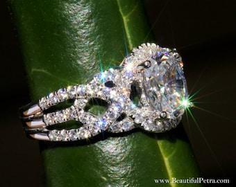 TWIST OF FATE - 14k - Oval Diamond Engagement Ring - Halo - Unique - Swirl - Pave - 1 Carat Center diamond - Beautiful Petra Rings - Bp024