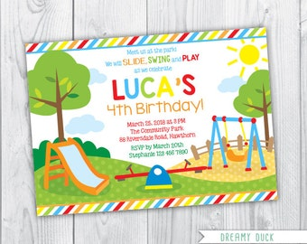 park invitation / picnic invitation / kids park invitation / park invite / birthday invitation / summer / slide invitation / swing invite