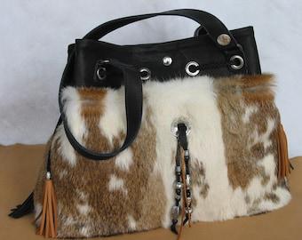 LEATHER Bag DASHA in  black Leather & Fur