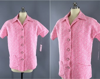 Vintage 1960s Blouse / 60s Women's Shirt / Pink Double Knit / Swim Cover Up / 1970s Blouse
