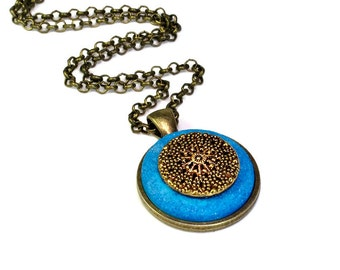Handmade  Upcycled Vintage Button Necklace Pendant  in Brass and Turquoise, Cute Necklace, Repurposed  Vintage Buttons