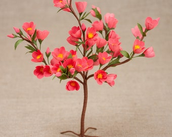 Bonsai Coral Blossoming - Crepe Paper Flowers - Paper Flowers - Crepe Paper - Anniversary - Hostess Gift - Sympathy Gift - Mother's Day -
