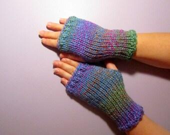 Fingerless Gloves - Blue, Green, Purple, Orange Mix Hand Knit Fingerless Gloves