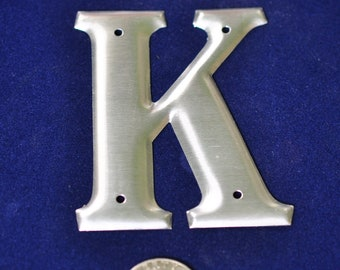 One Vintage Three-Inch Aluminum Letter K SHIPPING INCLUDED