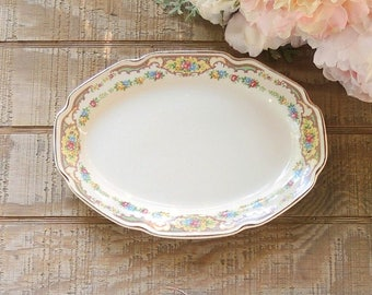 """Mount Clemens Mildred 11"""" Oval Serving Platter Farmhouse China, Wedding, Bridesmaid Gift, Ca. 1930s"""