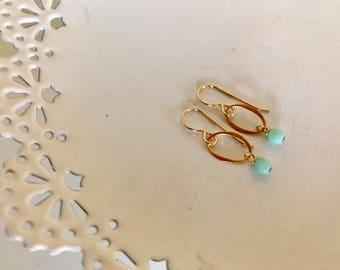 MInt Green Oval Drop Earring   Gold Drop Earring   Gold Oval Drop Earring   Gold and Mint Green Drop Earring   Minimalist Earring