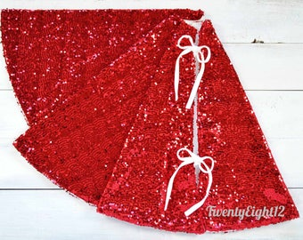 "Christmas Tree Skirt, Red Christmas Tree Skirt,  52"" Tree Skirt, Red Tree Skirt, Tree Skirt, Velvet Tree Skirt, Sparkly Tree Skirt"