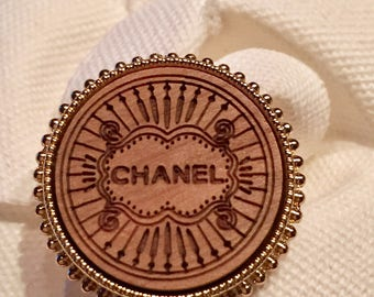 1 (One) Wooden Chanel Gold CC Metal Buttons, 22 mm