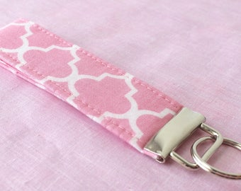 Pink and White Key Fob