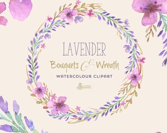 Lavender Watercolour Bouquets & Wreath Clipart. Hand painted watercolour, floral, wedding diy elements, flowers, invite, purple, blossom