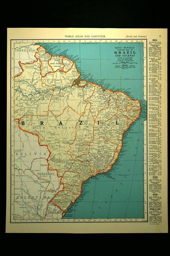 Brazil map brazil vintage guineas 1930s original 1935 gumiabroncs Gallery