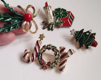 Lot of Four Vintage Holiday Brooches