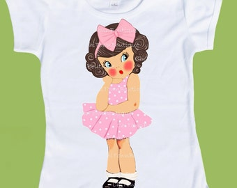 Vintage girl, So Sweet Girl TShirt ANY hair and eye color Free Personalization  by ChiTownBoutique.etsy