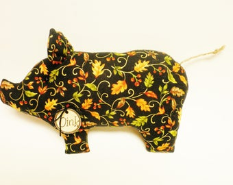 Leaf Print Fabric Pig - Made To Order, Fall Decor, Primitive Pigs, Country Farmhouse Accents