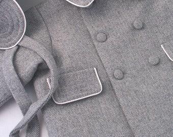 Grey Herringbone Wool Flannel Baby Boy's Coat and Cap
