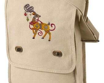 Clockwork Steampunk Reindeer Embroidered Canvas Field bag
