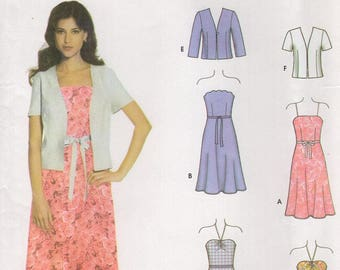 FREE US SHIP Simplicity 5051 Easy Chic Dress Jacket Strapless String Halter  Size 4/10 4 6 8 10 Bust 29 30 31 32 Sewing Pattern