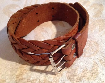 70s Woven Leather Belt Camel Cognac Brown Women