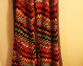 Vintage 1980s Boho Chic Phychodelic Bell Bottom Pants