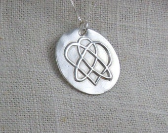 Ready to Ship Celtic Sister Knot Necklace in Pure Silver pmc