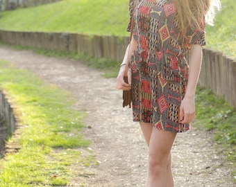 80s dress in Aztec print