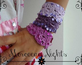 CROCHET PATTERN Moroccan Cuff, crocheted bracelet, crocheted cuff, shell bracelet, crocheted  accessory, a photo tutorial