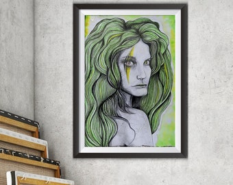 Original Painting, Wild Woman, Portrait Painting, Woman Portrait, Green Painting, Fantasy Art, Goddess Art, Peculiar, Contemporary Art
