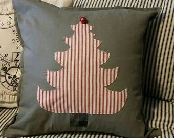 Red Ticking Christmas Tree Pillow