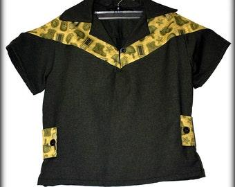 Retro Rockabilly Boys Shirt in Military Print....1950s Reproduction