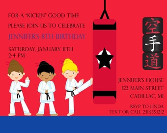 Girls Karate Invitation, Girls Karate Birthday Party Invitation, Kids Party Printables