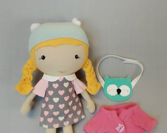 """Handcrafted STUDIO DOLL 15"""" - Girl with the owl purse. Handmade, Doll, Girl, Toy, Plush, Children, Gift, Owl"""