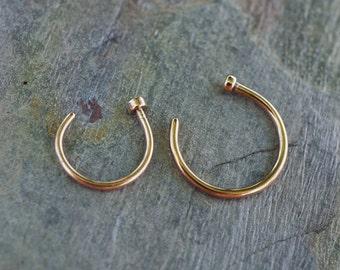 Rose Gold Nose Hoop Ring 18G 20G Rose Gold Nose Piercing