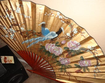 Huge gold and blue asian bord fan wood frame-