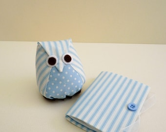 Owl Pincushion and Needlecase in pale blue stripes