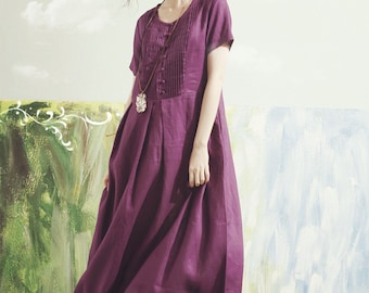 purple maxi dress, purple bridesmaid dress, maxi linen dress,  boho wedding dress,  maxi linen dress in purple,  linen summer dress