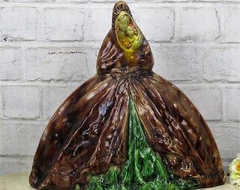 "Statue Flemish Pottery Flamande Spanish Madonna Virgin Mary Infant Child 14.5"""