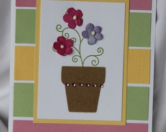 Floral Handmade Greeting Card with Pink Purple Paper Flowers