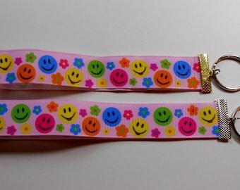 Colorful Smiley Faces Ribbon Keyrings