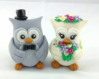Owl Wedding Cake Toppers Bride and Groom, Mixed Bouquet, edible fondant decoration