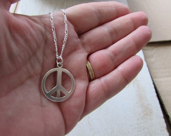 Peace love heart necklace peace love hand stamped sterling sterling silver peace sign necklace peace necklace silver peace sign necklace peace sign aloadofball Images
