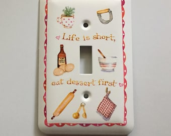 Life Is Short Eat Dessert First Light Switch Cover, Gift for Her,Kitchen, House Warming Gift, Plant in a Cup, Eggs, Rolling Pin, Mixing Bowl
